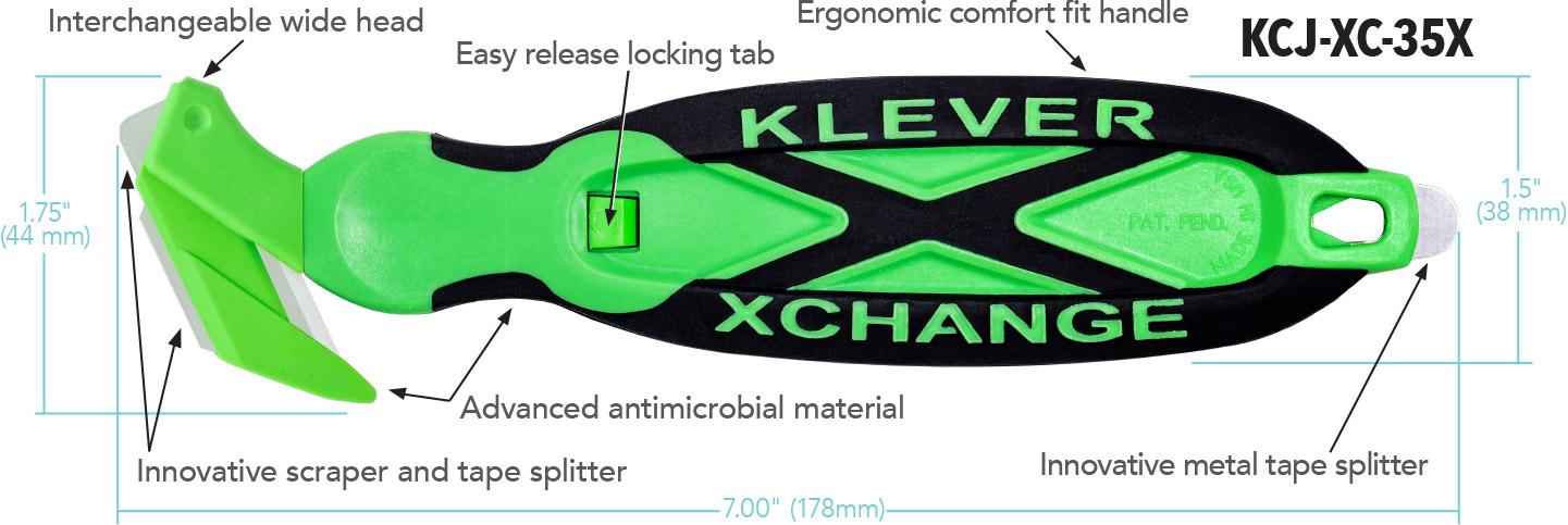 Kleen™ XChange - Wide + Scraper Head Diagram